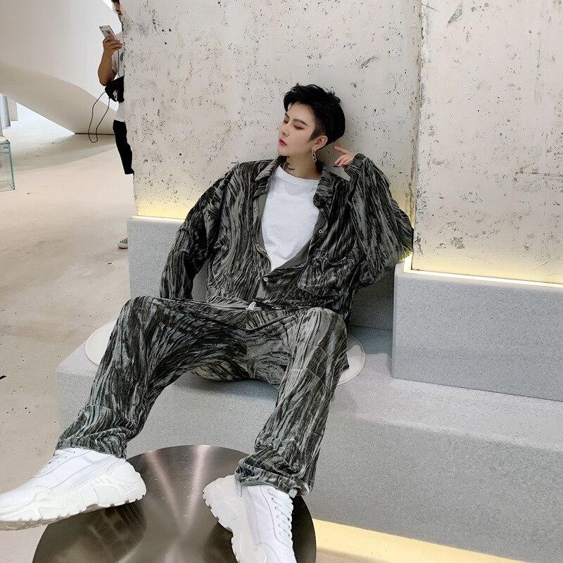 EWQ / 2020 spring fashion new men's set shine Velvet Crumpled Loose long sleeve Coat Pants 2 pieces Suit for male 19H a41 - 3