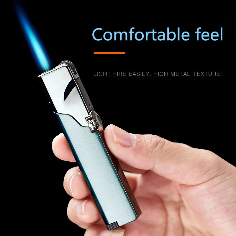 Inflatable Lighter Windproof Blue Flame Personality Creative Man Metal Cigarette Accessories
