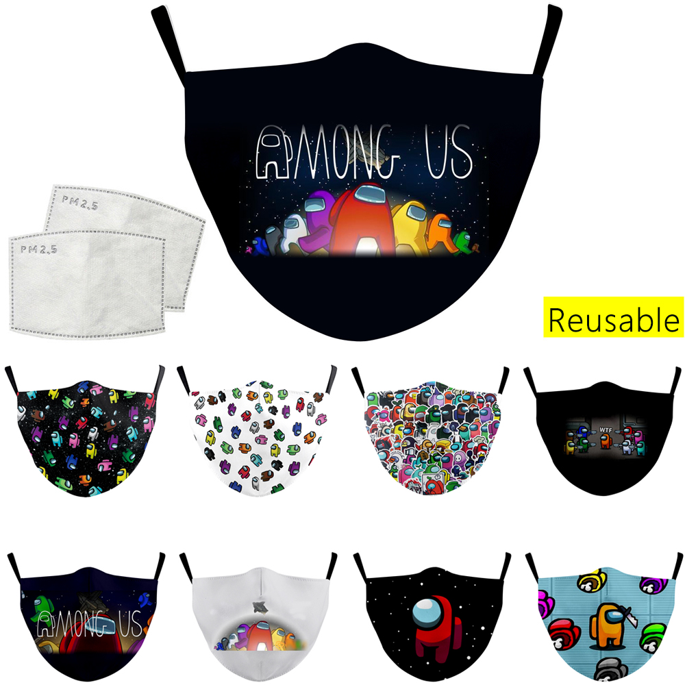 hot Game Among Us Mouth Mask Child Breathable Face Mask Reusable Washable Fabric Masks for Kid Adult Windproof Mouth Mask