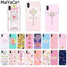 MaiYaCa Rosa Anime Japonês Kawaii Sailor Moon Varinha Mágica TPU Caixa Do Telefone para Apple iphone 11 pro 8 7 66S mais X XS MAX 5S SE XR(China)