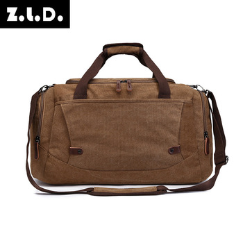 Style Big Capacity Canvas Travel Bag Men And Women Solid Color Luggage Bag Zipper Travel Bag