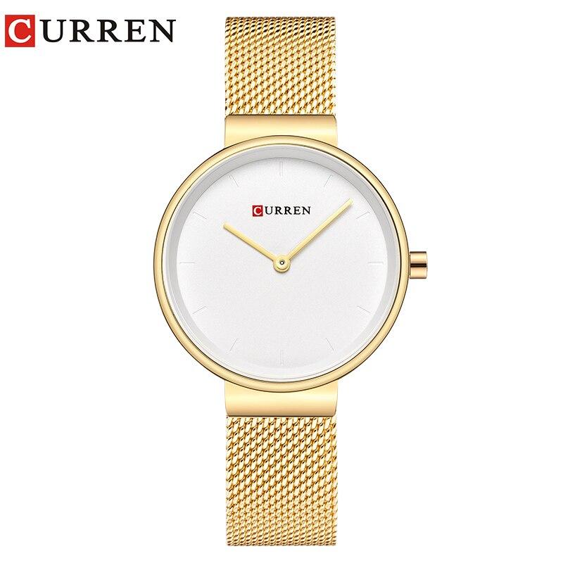 CURREN Fashion Women Watches Waterproof Steel Mesh Strap Quartz Ladies Waches Casual Wrist Watch For Women Relojes Para Mujer