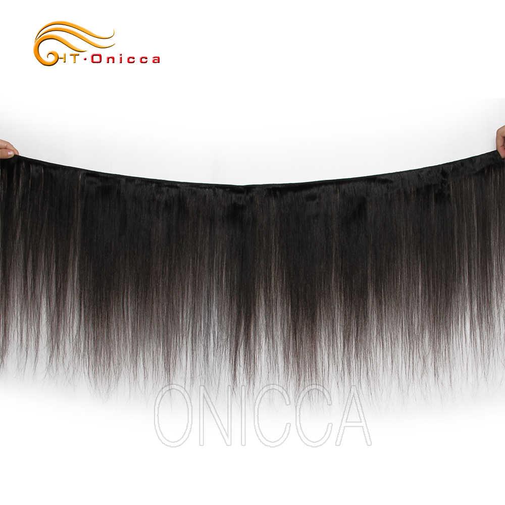 Htonicca Lurus Rambut Brazilian Menenun 100% Rambut Manusia 3 dan 4 Bundel Warna Alami Non Remy Ekstensi Rambut