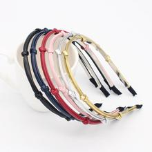 New Women Vintage Pu Leather Plain Thin Hairbands be customized 100pcs/color