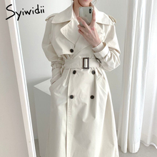 Trench-Coat Fashion Turn-Down-Collar Women Jacket A-Line Office Vintage Korean Long Winter