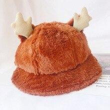 Cute Baby Antlers Plush Hat 0-2T Autumn Winter Boys Girls Toddler Ear Design Bucket Hats Caps Reversible Headwear #m