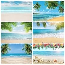 Laeacco Mùa Hè Biển Phông Nền Trời Mây Nhiệt Đới Bãi Biển Lòng Bàn Tay Cây Chụp Ảnh Nền Cho Studio Ảnh Photocall Photozone