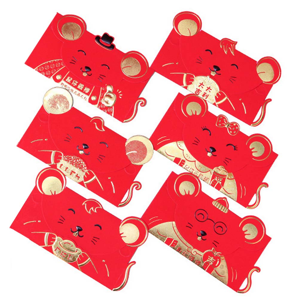 6pcs Chinese Red Envelopes Year Of The Rat Hong Bao Festival Lucky Money Packets For Lunar New Year Spring Festival Random Style