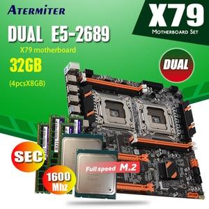 Image 1 - Atermiter X79 כפולה X79 E ATX מעבד האם שילובי 2 × Xeon E5 2689 4 × 8GB = 32GB 1600MHz PC3 12800 DDR3 ECC REG זיכרון