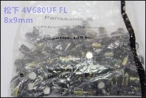 Image 2 - 50 sztuk nowy Matsushita FL 680UF 4V 8X9MM 4V680UF płyta główna CPU kondensator elektrolityczny 680 uF/4 V złota 4v 680uf