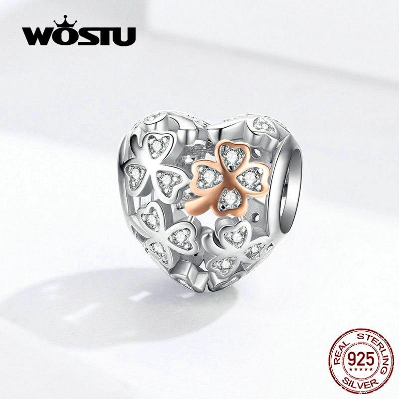 Wostu real 925 prata esterlina coração a céu aberto charme caber pulseira original pingente contas sorte casamento moda jóias fic1248