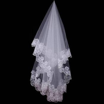 Kobiety 120CM jedna warstwa koronki krawędzi welon slubny Ivory długi Bridal Viel ślub i wydarzenia ślubne akcesoria do włosów tanie i dobre opinie VINOPROM Poliester spandex CN (pochodzenie) bridal veil Dla dorosłych Róż Welon WOMEN Bridal welony Przędzy barwionej