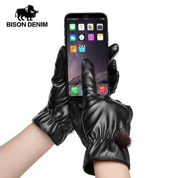 BISON DENIM nowe damskie PU skórzane rękawiczki miękkie zagęścić ciepłe rękawiczki zimowe jesienne damskie modne markowe rękawiczki do ekranu dotykowego S020 tanie i dobre opinie Kobiety Synthetic Leather Dla dorosłych Stałe Elbow Moda PU Leather M L XL Touch Screen