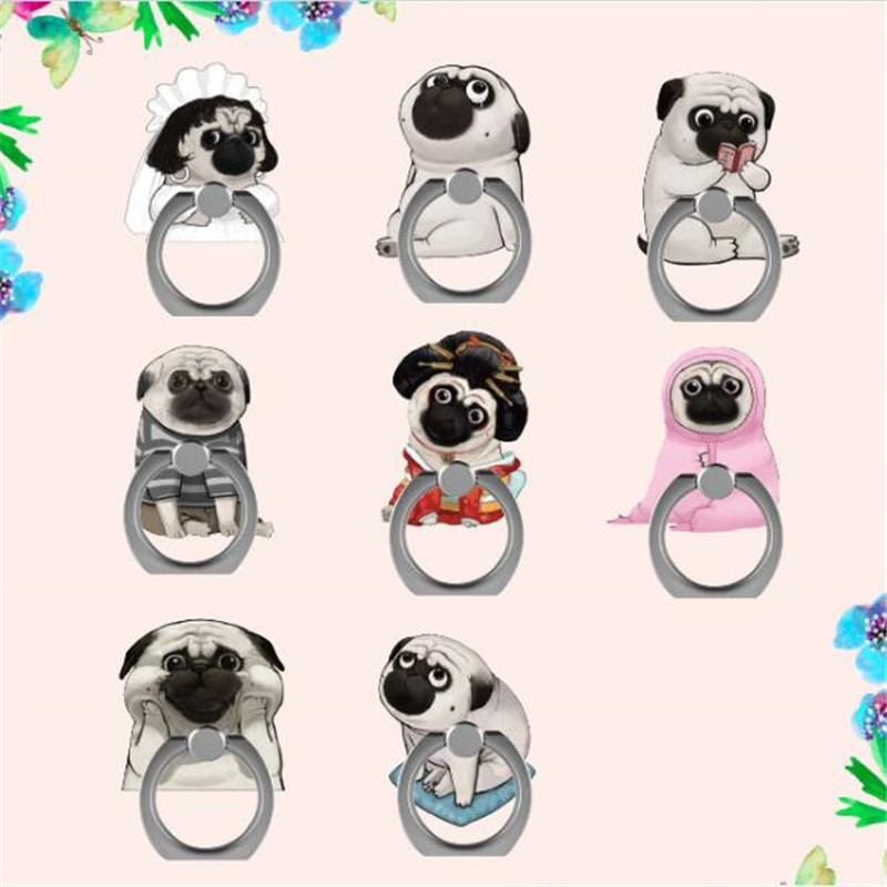 Cartoon Animals Poodle Bullfight Ring Phone Stand Holder Car Mobile Phone Suporte Celular For IPhone 11 All SmartPhone