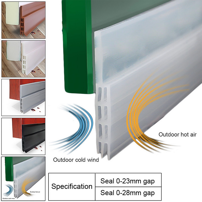 1PC Door Sweep Silicone Bottom Seal Strip Weather Stripping Draft Stopper And Blocker, Noise Insulation And Prevent Bugs