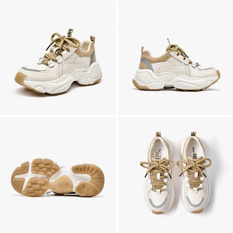 BeauToday Chun Sneakers Nữ Da Bò Lưới Retro Giày Nền Tảng Cột Dây Huấn Luyện Viên Thủ Công 29333