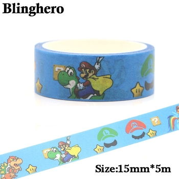 CA745 15mm X 5m Super Mario Bros Washi Tape Paper DIY Decorative Adhesive Stationery Supplies Funny Masking Tapes - discount item  60% OFF Stationery Sticker