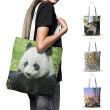 Холщовая Сумка с изображением милой панды Вместительная дорожная