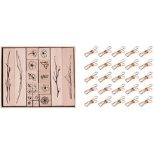 25Pcs Rose Gold Small Metal Clips with 20Pcs Vintage Flowers Branch Decoration Stamp Wooden Rubber Stamps