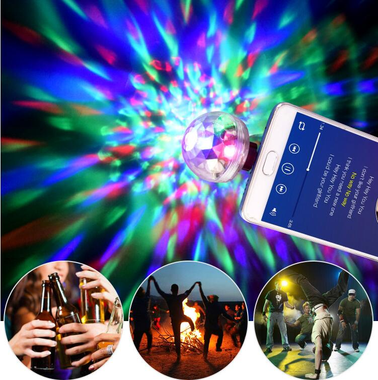 USB Mini Stage Light With Music Sensor 4 Kind Micro Usb/Lightning/Type C For Phone Portable CrystalMagic Ball Effect LampForXmas