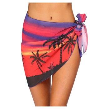 Women Short Sarongs Beach Wrap Sheer Bikini Wraps Chiffon Cover Ups for Swimwear 1
