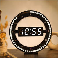 3D LED Digital Wall Clock Electronic Night Glow Round Wall Clocks Automatically