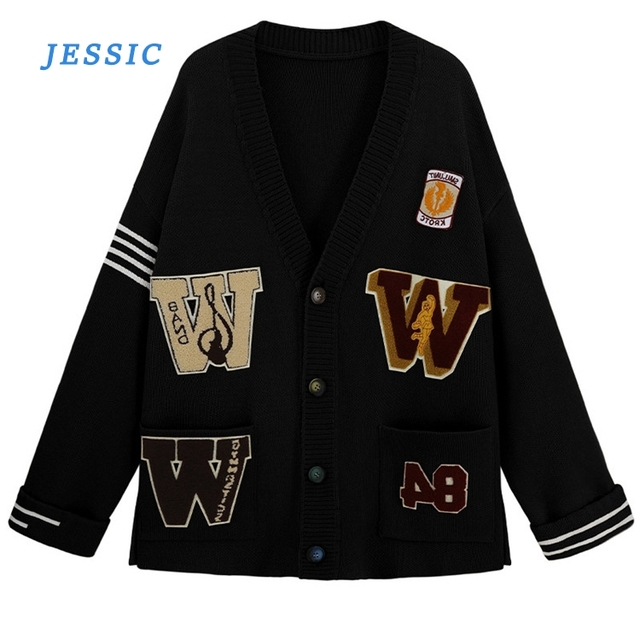 JESSIC Cardigan Sweater Women Loose Lazy Wind 2020 Autumn And Winter Clothes New Student Korean Knit Jacket Top Trend