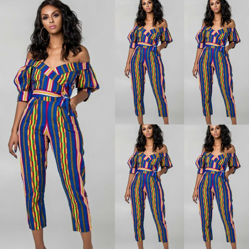 Fashion Summer  Women Ladies Jumpsuits Striped Slim Skinny Bodycon Off Shoulder Puff Shoulder Tight Waist Jumpsuit  Beach Party