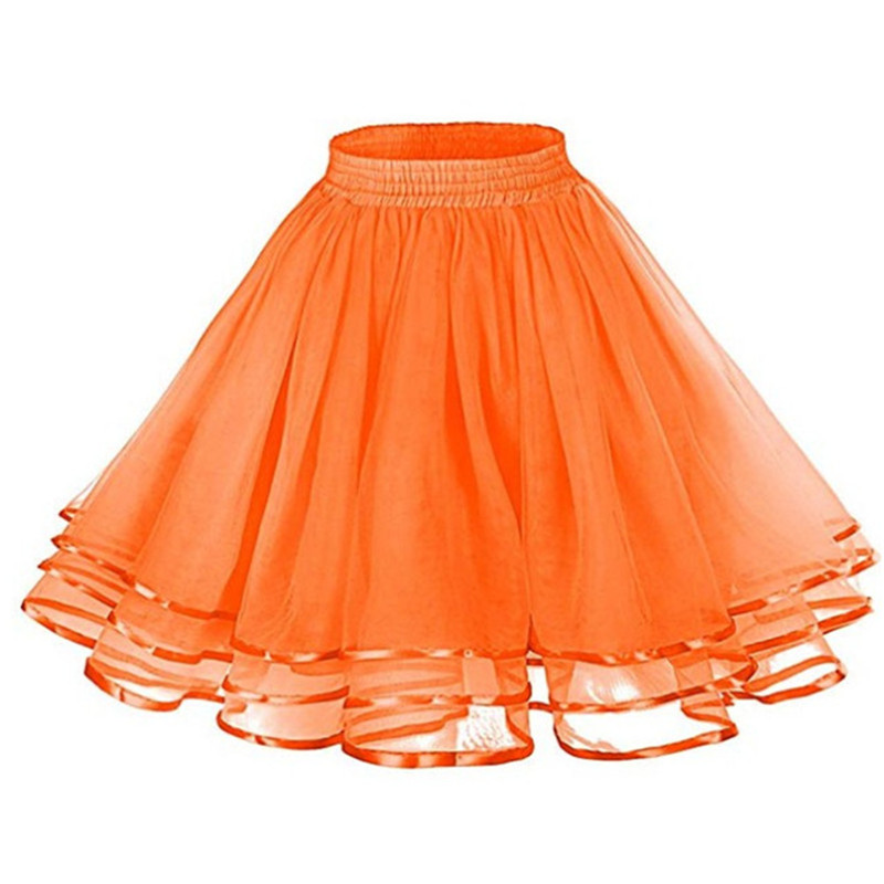 Sweet Princess Short Skirt Petticoat Lady Ribbon Orange Tulle Fluffy Rockabilly Underskirt Yellow Red Festival Party Skirts