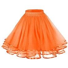 Sweet Princess Short Skirt Petticoat Lady Ribbon Orange Tulle Fluffy Rockabilly Underskirt Yellow Red Festival Party Skirts