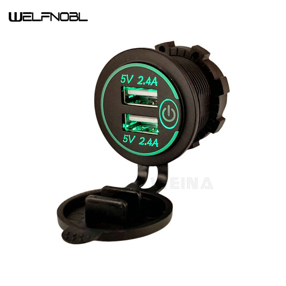 4.8A 5V Touching Car Truck Cradles Socket Dual USB Charger With LED