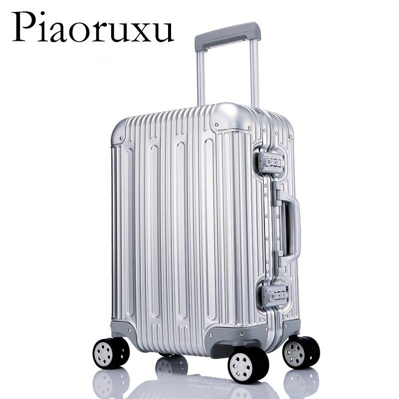 Image 2 - 100% багаж из алюминиевого сплава в твердом переплете, тележка для багажа, Дорожный чемодан 20, багаж 26, 29 дюймов, багаж в клеткуЧемодан на колесиках    АлиЭкспресс