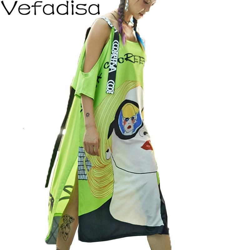 Vefadisa 2021 Fashion Summer Women Dress Ribbon Character Printed Long Dress Plus Size Strap Off the Shoulder Dress Green QYF135