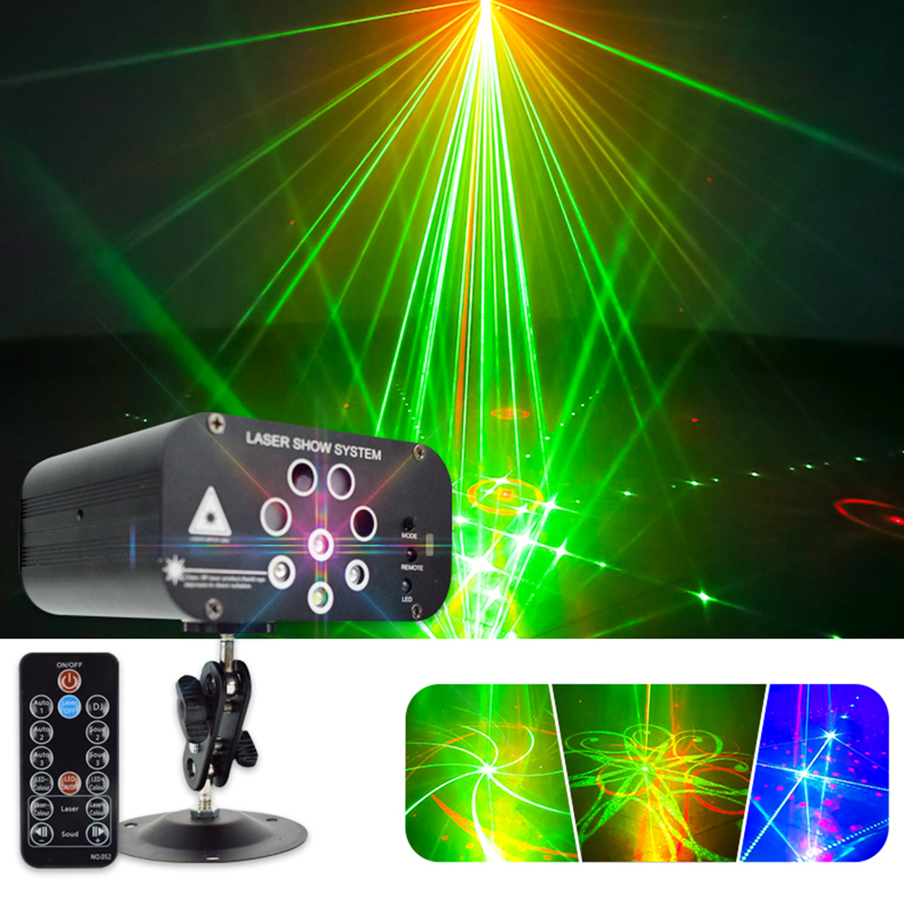 Mini 128 Patterns RGBW LED Disco Light Professional DJ Stage Laser Projector Lights Music Control For Wedding DJ Bar Party Light