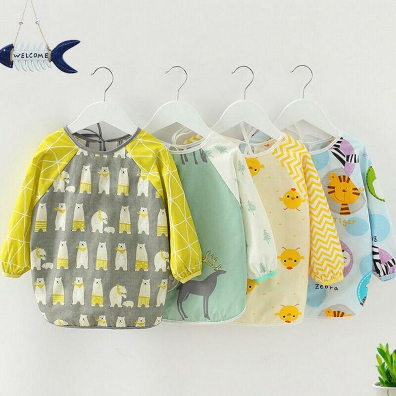 Apron Art-Craft Long-Sleeve Baby Kids Waterproof Coverall Feeding-Bib Paint-Play Multi-Color