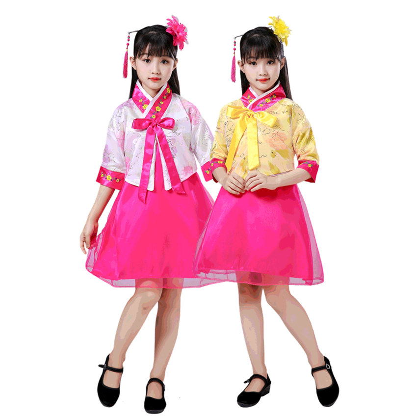 4Colors Nationality Korean Retro Hanbok Kids Ethnic Vintage Stage Dance Costumes Girls Oriental Asian New Year Party Dress