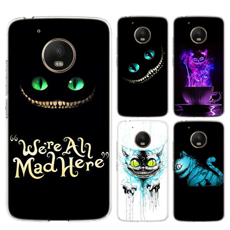 Alice In Wonderland Cheshire Cat Bumper Comic Phone Case For Motorola MOTO G7 G6 G5S G5 E6 E5 E4 Plus G7 Power G4 Play Cover