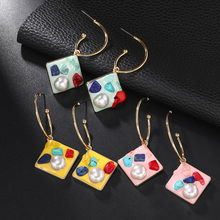 Temperament Statement Jewelry 2019 New Design Pearl Brincos Resin Earrings For Women Round Geometric Crystal Flower Korean Style Cute Earrings(China)