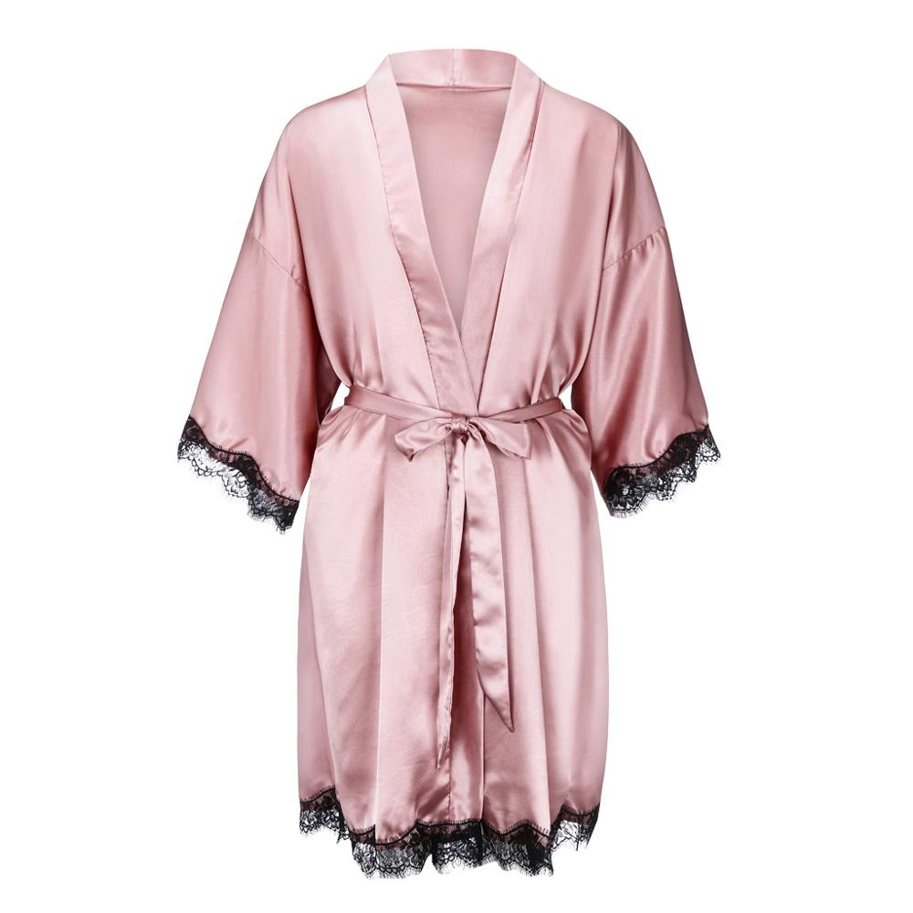 Satin Short Kimono Bridesmaids Lingerie Robes Luxury Female Bathrobes Ladies Sleepwear Dressing Gown|Robes| - AliExpress