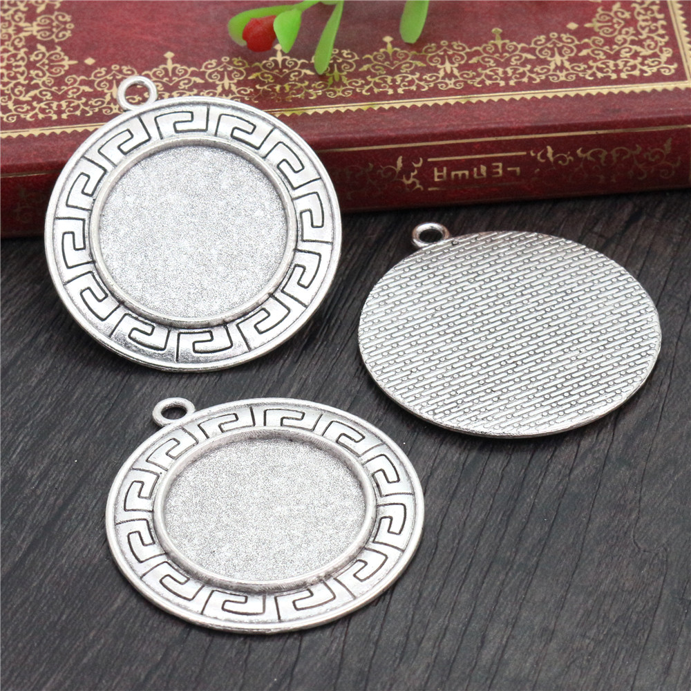 New Fashion  3pcs 25mm Inner Size Antique Silver Geometric Style Cabochon Base Setting Charms Pendant (A3-32)