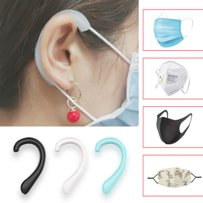 1Pair Reusable Silicone Earcaps Ear Protector Caps Ear Loop Cover Ears Retainers For Mask Extension Buckle Hooks