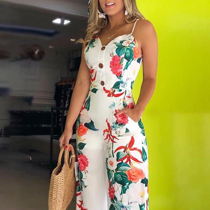 WEPBEL Jumpsuit Floral Flower Sleeveless Strap V Neck Loose High Waist Button New Casual Fashion Ladies Jumpsuit Pants