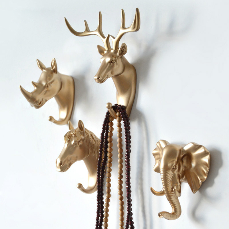 Clothing Cap Display Racks Coat Hanger Room Decor Creative Deer Head Animal Self Adhesive Hook Keys Wall Sticky Mount Holder