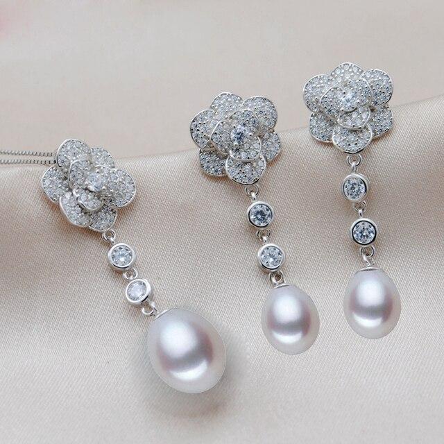 MeiBaPJ 2 Colors Real 925 Sterling Silver Long Chain Flower Jewelry Set Rice Pearl Pendant Earrings Wedding Jewelry for Women