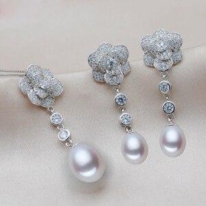 Image 1 - MeiBaPJ 2 Farben Echt 925 Sterling Silber Lange Kette Blume Schmuck Set Reis Perle Anhänger Ohrringe Hochzeit Schmuck für Frauen
