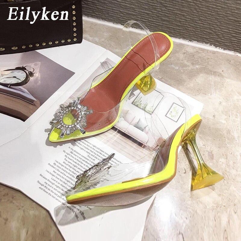 Eilyken желтое Серебряно-в сочетании с прозрачным ПВХ-материалом; туфли острый носок странный каблук из плексигласа Для женщин; босоножки в фор...