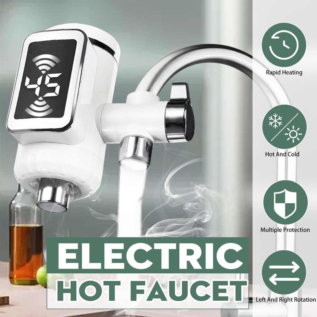 220V Electric Faucet 3000W LCD Digital Display Kitchen Faucet 3s Instantaneous Heating Water Heater Cold Hot Water Tap