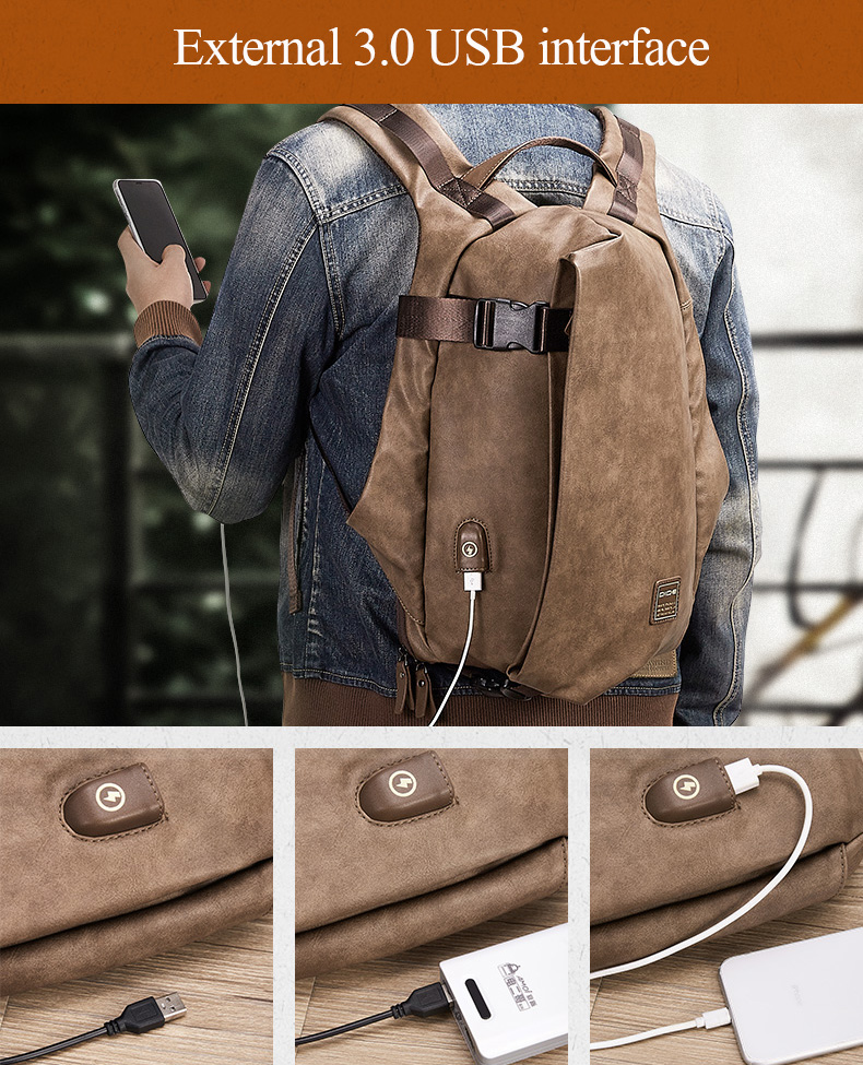 Hdf205919615a45ce9bf70b06b128af188 - DIDE Male Backpack USB Charge Waterproof 15.6 inch Laptop Backpack Leather Travel Casual Vintage School Bag For Men Black