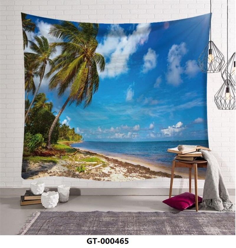95x73cm Seaside Scenery Tapestries Home Furnishing Bohemian Tapestry Wall Hanging Sandy Beach Picnic Rug Blanket Camping Tent