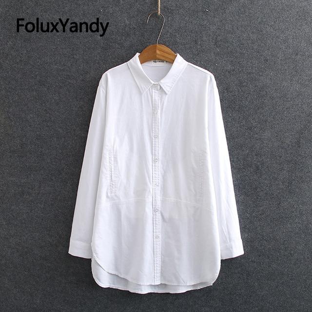 White Long Sleeve Blouse Shirt Women Oxford Shirts Pockets Loose Plus Size Casual Shirts Turn-down Collar KKFY4774 1